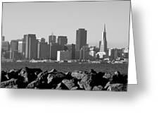 Sf Skyline  Bw Greeting Card