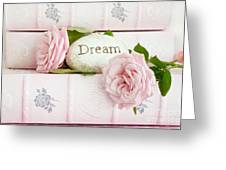 Shabby Chic Cottage Pink Roses On Pink Books - Romantic Inspirational Dream Roses  Greeting Card