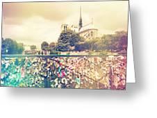 Shabby Chic Love Locks Near Notre Dame Paris Greeting Card
