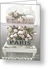Paris Shabby Chic Pastel Paris Books Roses - Paris Shabby Cottage Watercolor Roses Greeting Card