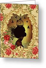 Shabby Fae Silhouette  Golden Greeting Card