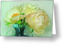 Beautiful Peony Flowers  In Blue Vase. Greeting Card