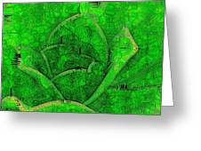 Shades Of Green Stained Glass Greeting Card