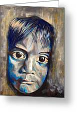Shades Of Why, Sad Child Painting Greeting Card