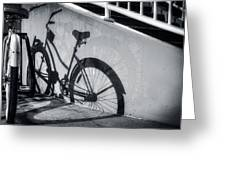 Shadow Of A Bike At Carolina Beach Greeting Card