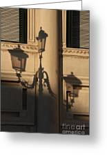 Shadow Of A Lamp Post In Venice Greeting Card