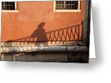 Shadow Of A Person Crossing The Shadow Of A Bridge In Venice Greeting Card