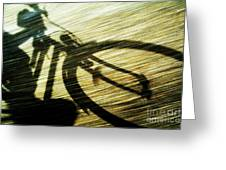 Shadow Of A Person Riding A Bicycle Greeting Card