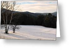 Shadows On A Snow Covered Field Greeting Card