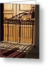Shadows On A Wood Door Greeting Card