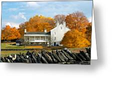 Shaker House And Stone Fence Greeting Card