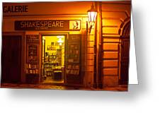 Shakespeares' Bookstore-prague Greeting Card by John Galbo