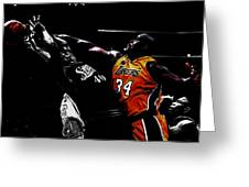 Shaq Protecting The Paint Greeting Card