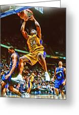 Shaquille O'neal Los Angeles Lakers Oil Art Greeting Card