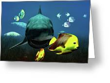 Shark And Fishes Greeting Card