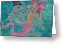 Shark And The Mermaid  Greeting Card