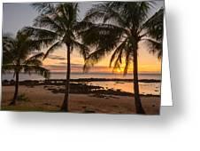 Sharks Cove Sunset 3 - Oahu Hawaii Greeting Card