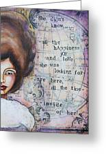 She Didn't Know - Inspirational Spiritual Mixed Media Art Greeting Card