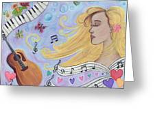 She Dreams In Music Greeting Card