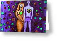 She Grieves The Hole In His Heart-purple Greeting Card by Brenda Higginson