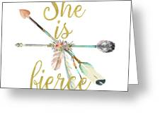 She Is Fierce Boho Tribal Gold Blush Arrow Print Greeting Card