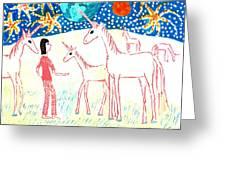 She Meets The Moon Unicorns Greeting Card