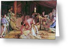 Shearing The Rams Greeting Card by Pg Reproductions
