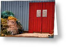 Shed Doors And Tangled Nets Greeting Card by Louise Heusinkveld