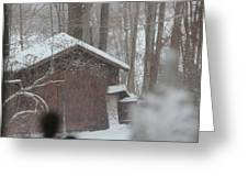 Shed Thru Glass And Snow Greeting Card