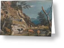 Sheep And Three Peasants Below A Cliff Greeting Card