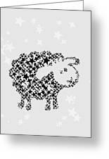 Sheep Black Star Greeting Card
