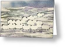 Sheep In Winter Greeting Card by Suzi Kennett