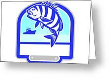 Sheepshead Fish Jumping Fishing Boat Crest Retro Greeting Card