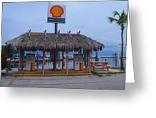 Shell Tiki Hut Station Greeting Card
