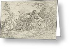 Shepherd Holding A Flute And Two Other Figures In A Landscape Greeting Card