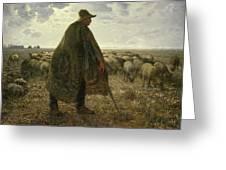 Shepherd Tending His Flock Greeting Card
