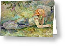 Shepherdess Resting Greeting Card by Berthe Morisot