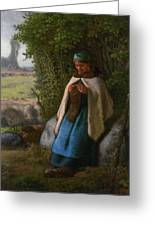 Shepherdess Seated On A Rock Greeting Card