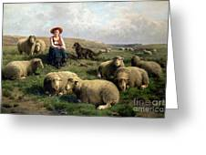 Shepherdess With Sheep In A Landscape Greeting Card by C Leemputten and T Gerard