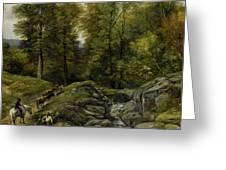 Shepherds Next To A Brook By Thomas Creswick Greeting Card
