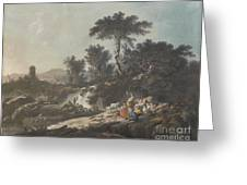 Shepherds Resting By A Stream Greeting Card