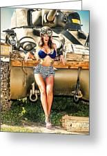 Sherman Tank Pin-up Greeting Card