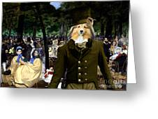 Shetland Sheepdog Art Canvas Print - Music In The Tuileries Gardens Greeting Card