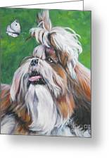 Shih Tzu And Butterfly Greeting Card