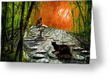 Shinto Lantern At Dusk Greeting Card by Laura Iverson