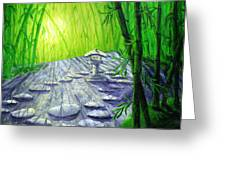 Shinto Lantern In Bamboo Forest Greeting Card