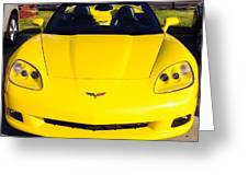 Shiny Yellow Corvette Convertible  Greeting Card