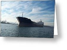 Ship At Anchor In The Columbia River Greeting Card
