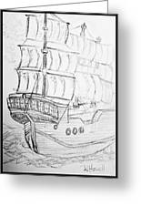 Ship At Sea Greeting Card