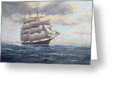 Ship Coming Out Of Morning Fog Greeting Card